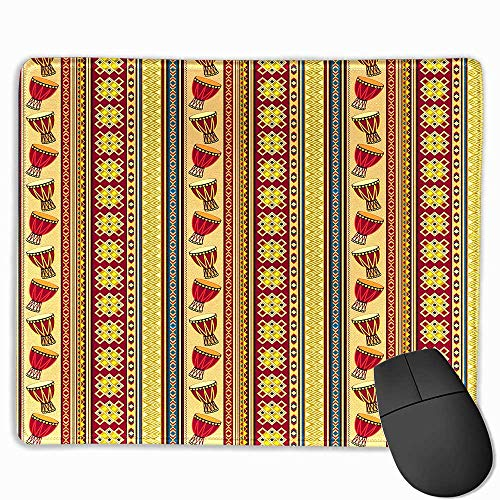 Natural Gaming Mouse Pad,African Oriental Djembe Drums Music Culture in Africa Theme Geometric Chevrons Triangles Multicolor, 11.8