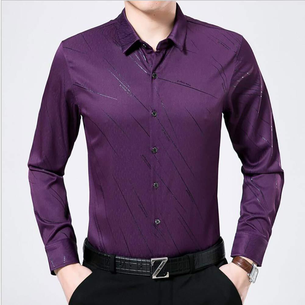 Herren seidiges Baumwollhemd, Mittleren Alter Weiche Seidige Langarmhemd Herbst 2018 Bussiness Casual Men Shirt (Farbe : Lila, Größe : S/105/165)