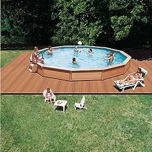 azteck Pool Piscina redondo forma Platillos notebook empotrable Platillos Altura 140cm, ∅ 4,40 m