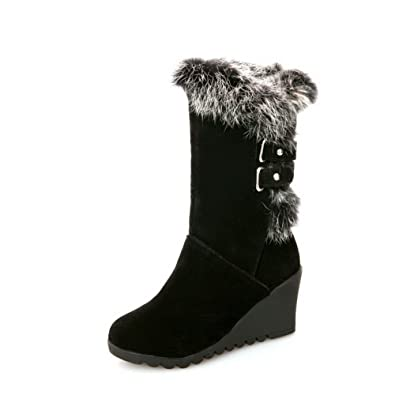 Womens Buckle Fur Ornament Color Matching Thick Bottom Heel Yellow Frosted Boots - 5.5 B(M) US