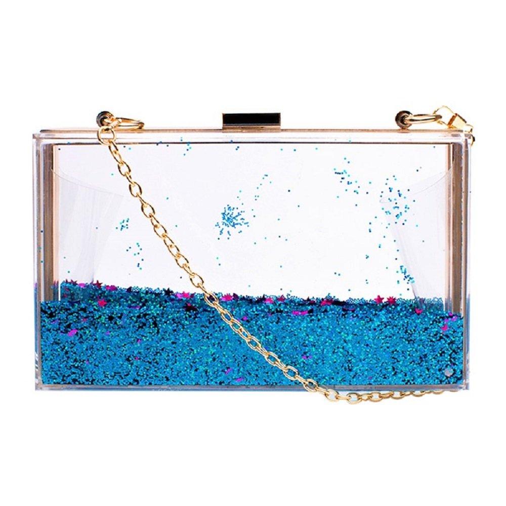 JeVenis Womens Transparent Sequins Chain Clutch Evening Handbag Party Cross-body Purse (New Blue)