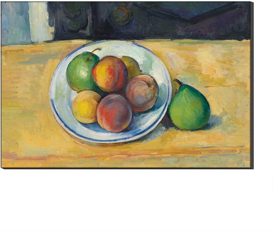Five-Seller Lienzo Cuadros Famosos Naturaleza Muerta con Melocotón Y Peras por Paul Cézanne Arte De La Pared Reproducción De Arte, Impreso En Lienzo (Sin Marco,40_x_60_cm)