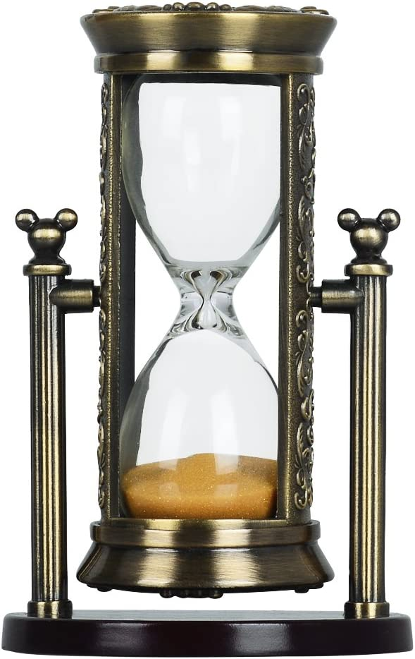 Hourglass Sand Timers,3 To 4 Minutes Colorful Sand TimerRetro Ornaments Sandglass Kitchen Timer Home Decration Sandglass Office Desk Ornament Romantic Present (Bronze Frame Yellow Sand) RKSBG001a