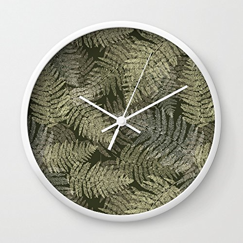 Linear Leaves (Society6 Fern Linear Leaves Wall Clock White Frame, White Hands)
