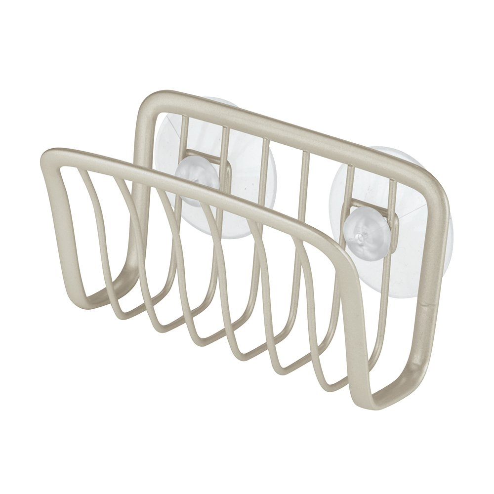 Suction Cup Sink Caddy for Sponges and Soap Pearl White InterDesign Axis Sink Storage Basket Made from Coated Metal