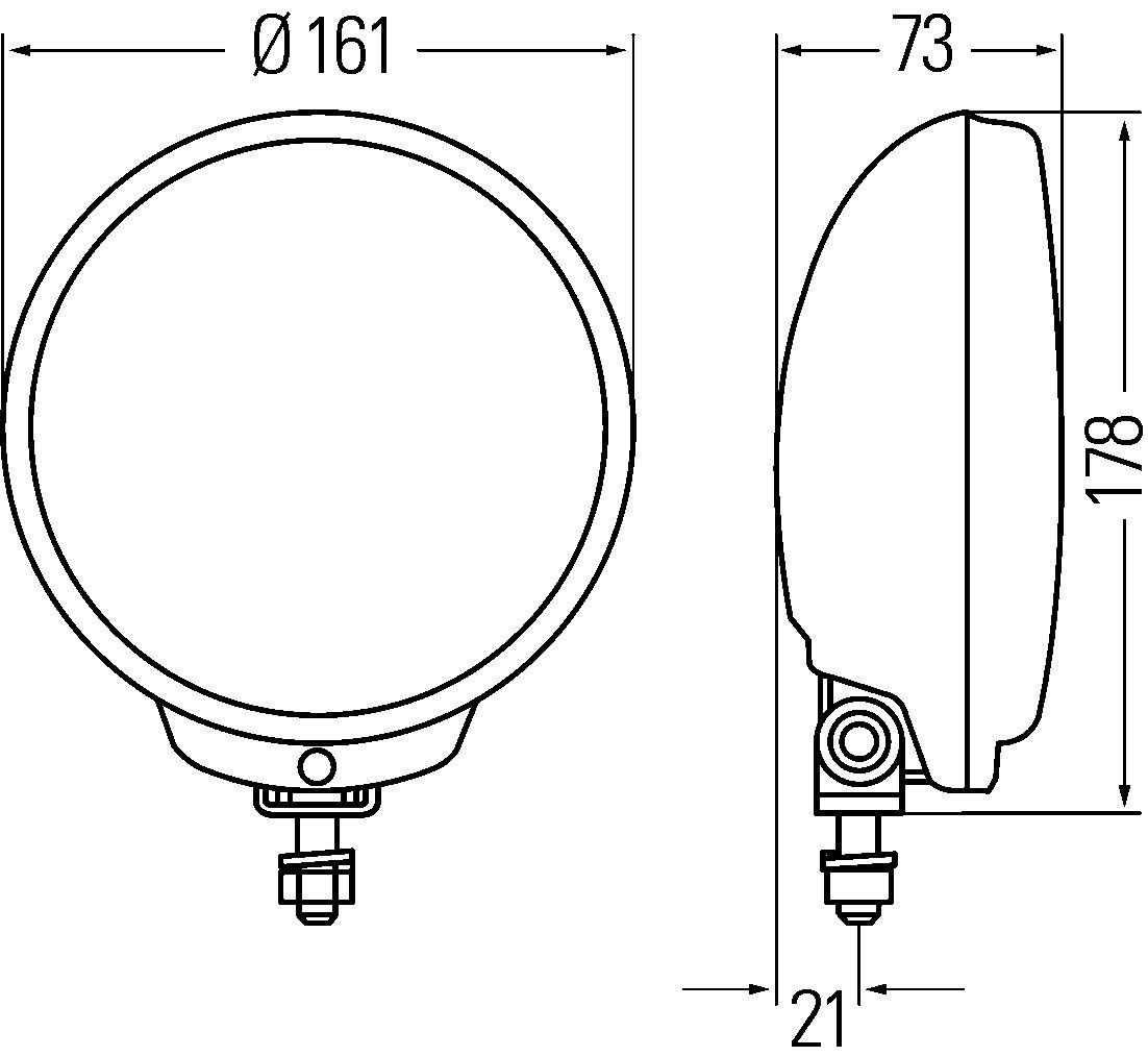 Left or Right with rubber grommet HELLA 1F6 010 952-011 Halogen Spotlight
