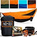 Premium Camping Hammock - Large Double Size, Portable & Lightweight. Aluminum Wiregate Carabiners Included. Ultralight Ripstop Parachute Nylon. Best For Backpacking, Travel, Beach, & Hiking