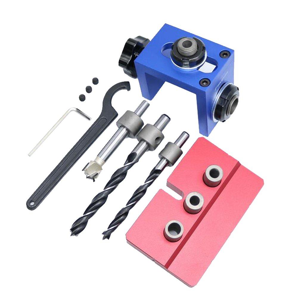 Baoblaze Mini WoodWork Pocket Slant Hole Jig Kit + 8/10/15mm Drilling Drill Bit Tool