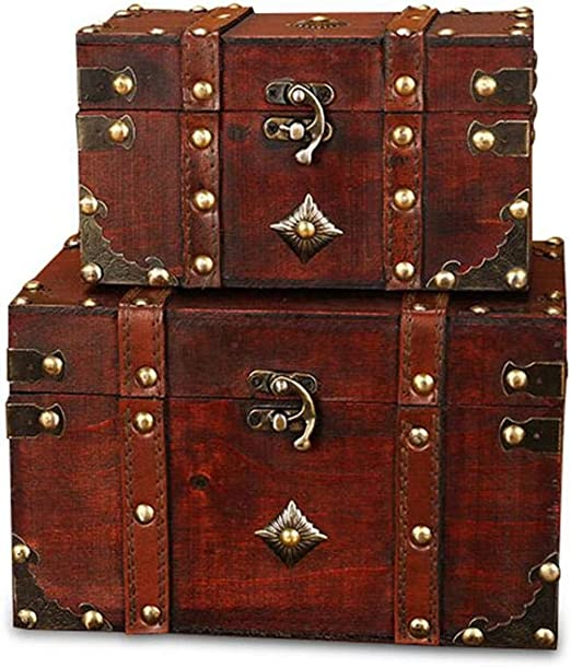 AOLVO - Caja cuadrada de madera para guardar fotos de piratas ...