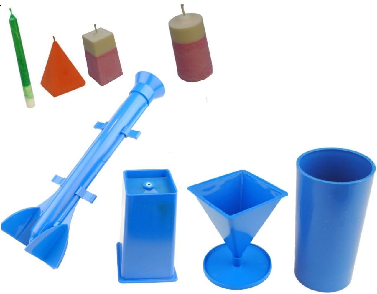 1 x rectangulaire 1 x rocket 1 x pyramide 1 x pilier S7561 Lot de 4 bougie moules