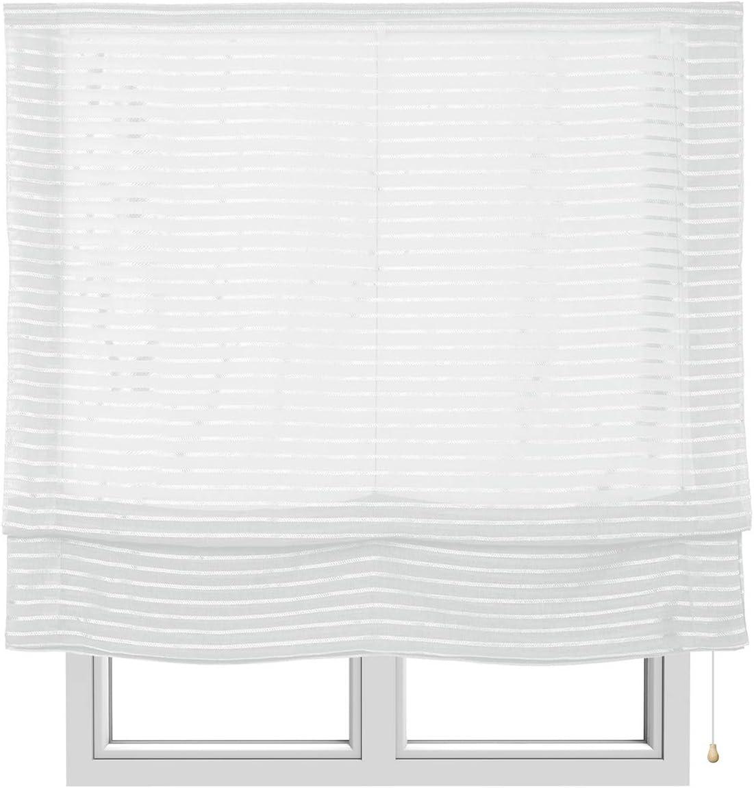 STORESDECO Estor Plegable sin Varillas, Estor paqueto translúcido para Ventanas y Puertas (120 cm x 250 cm, Blanco)