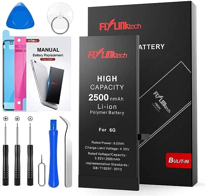 Batería para iPhone 6 2500mAH con 39% más de Capacidad Que la batería Origina, FLYLINKTECH Reemplazo de Alta Capacidad Batería para iPhone 6 con Kits ...