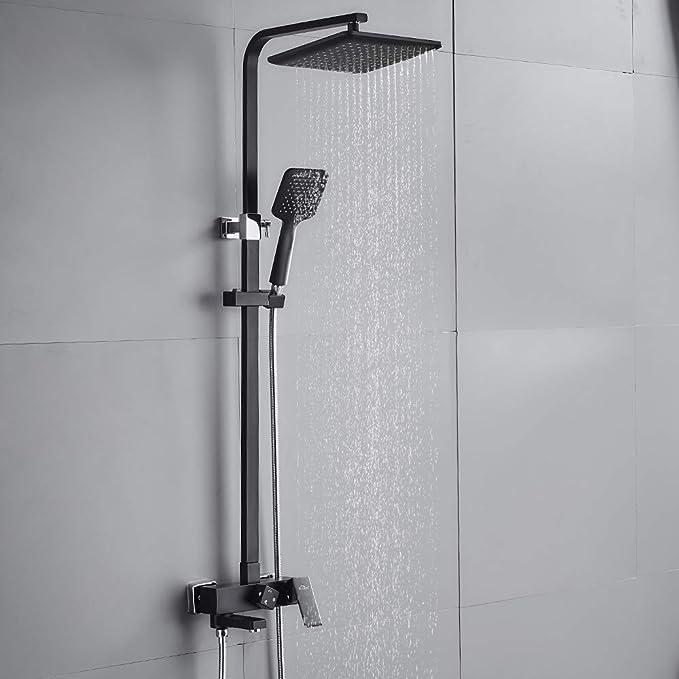 Colonne de douche r/églable en hauteur 80-115 cm Colonne de douche carr/ée avec /étag/ère Auralum Colonne de douche 2 fonctions en acier inoxydable