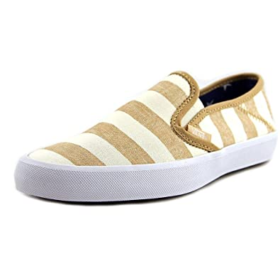 3f85535f1e600c Vans Women s Comina Stripes Marshmallow Tan Ankle-High Canvas Slip-On Shoes  -