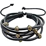 Multi-Strand Leather Bracelet by BodyTrend- embellished with Gold plated silver Beads, fashionable and durable, fits just right!