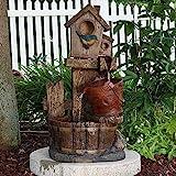 Sunnydaze Bluebird House and Buckets Outdoor Garden Water Fountain, 26 Inch