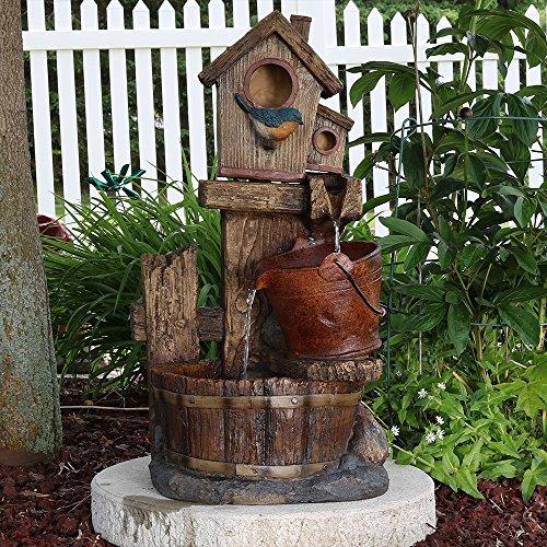Sunnydaze Bluebird House and Buckets Outdoor Garden Water Fountain, 26 Inch Tall