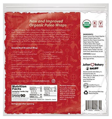 Julian Bakery Gluten Free & Keto USDA Organic Paleo Wraps (2 Pack) (14 Individual Wraps)