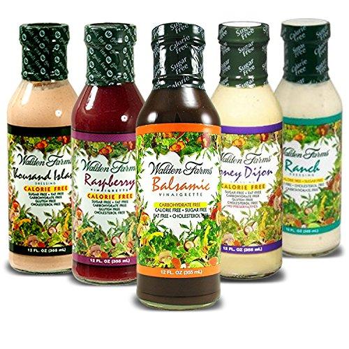Calories Ranch Dressing (Walden Farms Calorie Free Salad Dressings No calories, fat, carbs, gluten or sugars Pack of 5 (Thousand Island - Bacon Ranch - Honey Dijon -Balsamic Vinaigrette -Raspberry Vinaigrette))