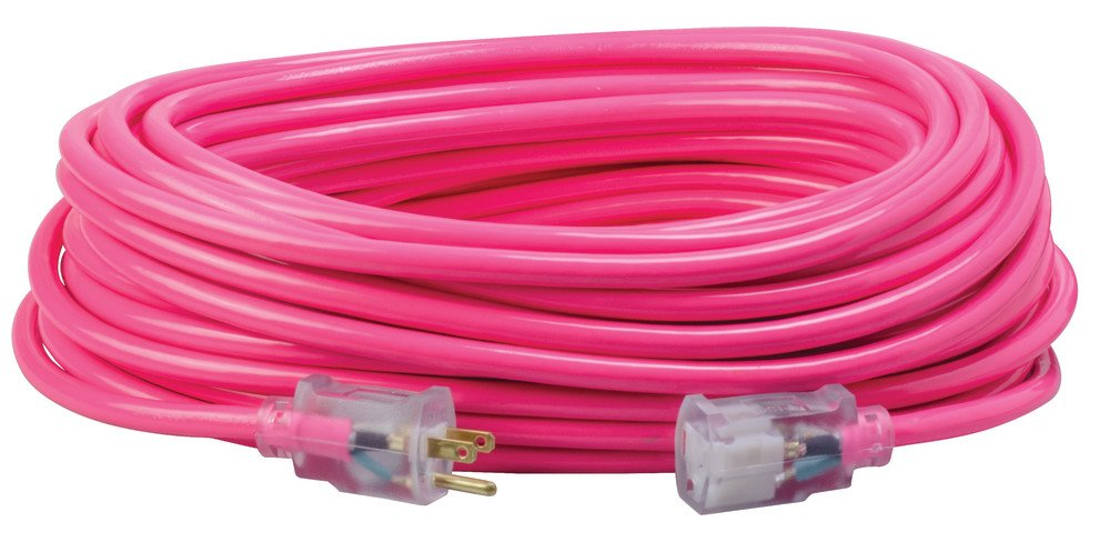 Southwire 2579SW000A 100-Foot 12/3 Neon Outdoor Extension Cord, Bright Pink