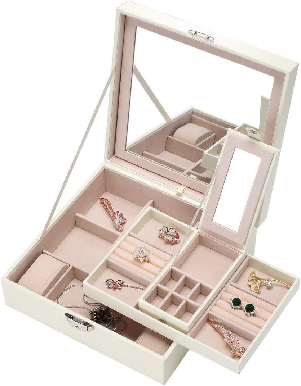 ZOUQILAI Caja de Joyas Organizador de Joyas Espejo y Soporte para Anillo de aretes Collar y Pulsera Bandejas Organizador de Relojes para Mujeres y niñas: Amazon.es: Hogar