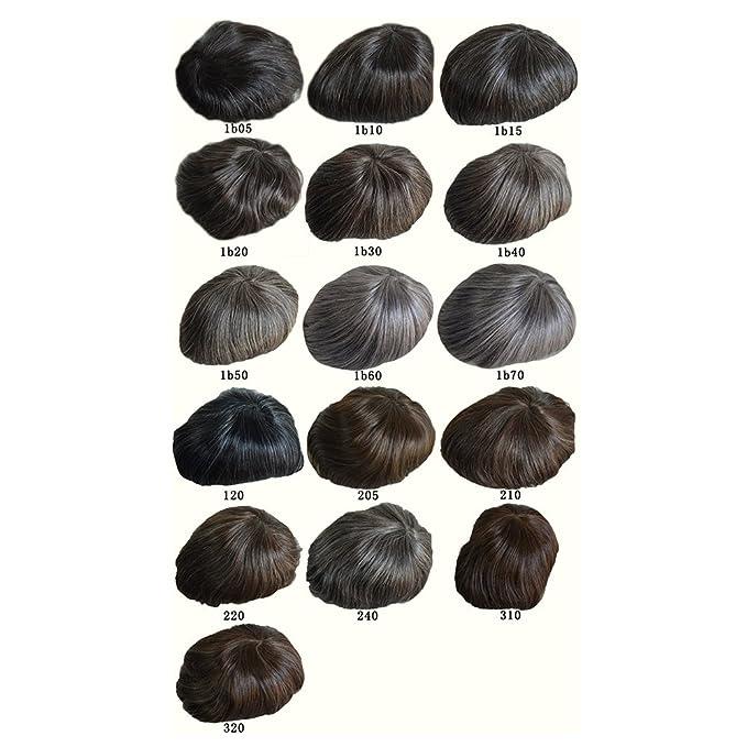 Toupee Pelucas Para Hombres Q6 Base Toupee Replacement Pelucas Nudos Blanqueados Invisible Naturale Looking - Para El Cabello Humano Indio #18 (Dark Ash ...