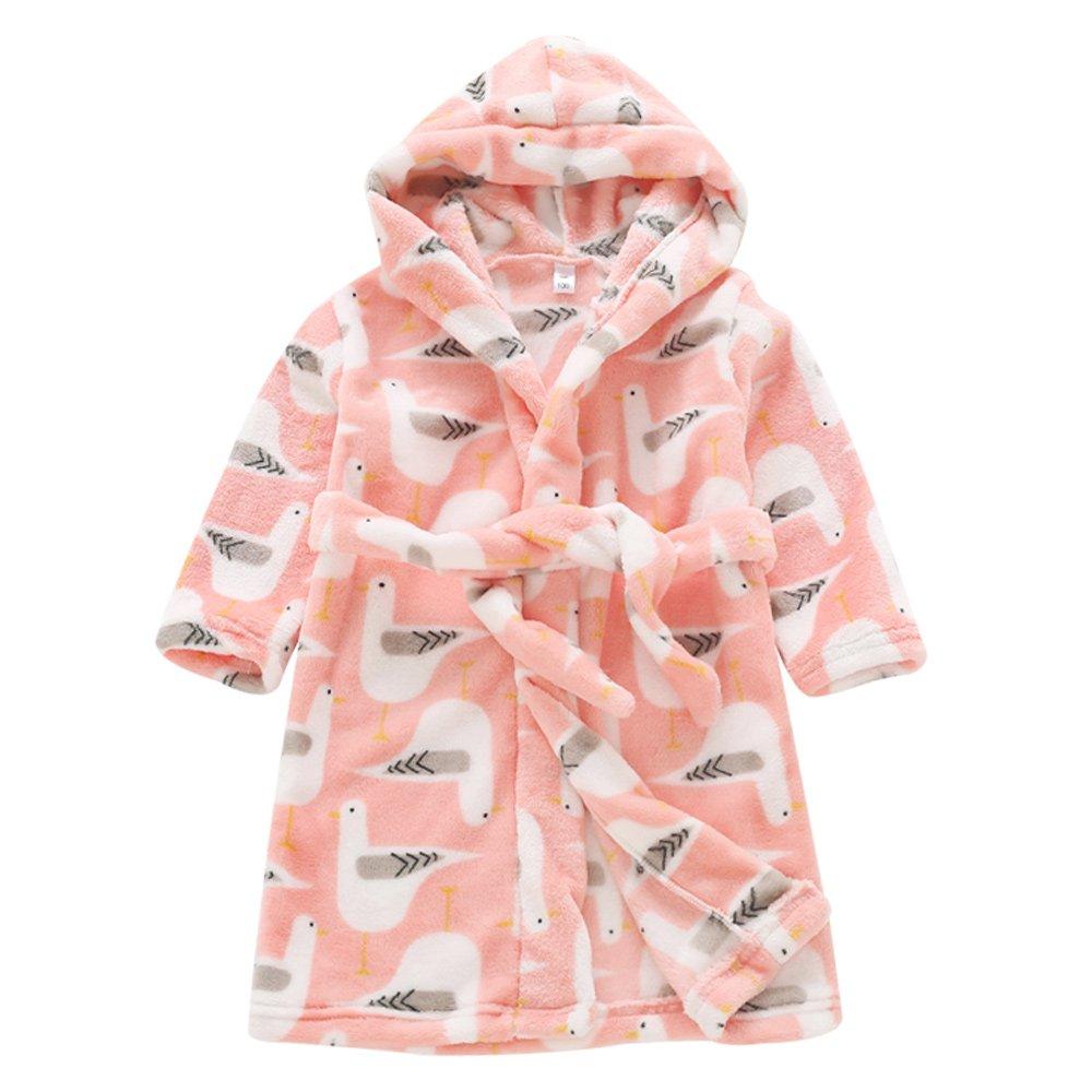Aivtalk Baby Kids Robe Animals Printed Sleepwear Hooded Towel Flannel Bathrobe
