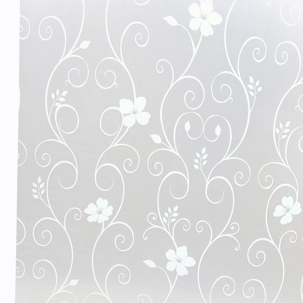WINOMO Pegatina de Ventanas autoadhesiva Flor del Hierro PVC Pegatina para Ventanal de Baño Cocina Oficina Control de Calor y Anti UV 45 x 100cm (Blanco)