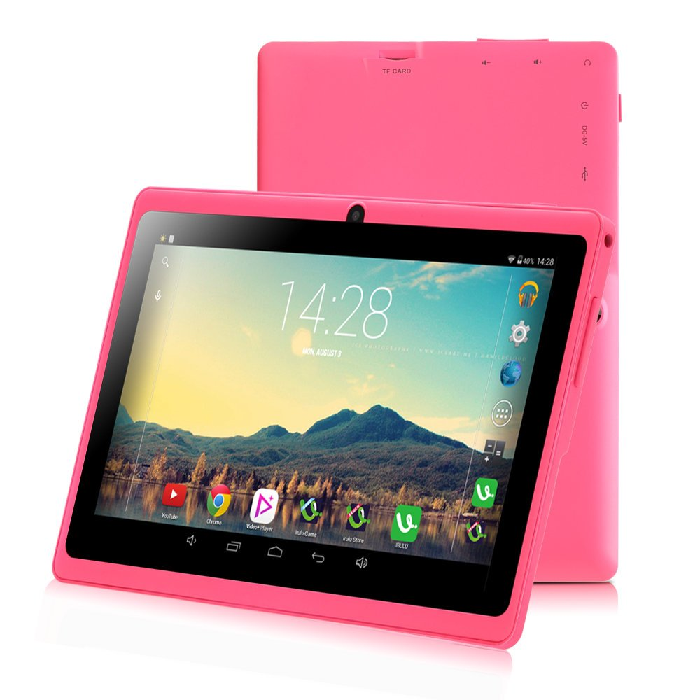 7 inch Tablet Google Android 6.0, Quad Core,1024x600, Dual Camera, Wi-Fi, Bluetooth,1GB/8GB,Play Store Netfilix Skype 3D Game Supported, GMS Certified with One Year Warranty,iRULU X37-Pink