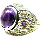CaratYogi Genuine Amethyst Statement Ring 925 Sterling Silver Fine Jewelry Sizes 5,6,7,8,9,10,11,12,13