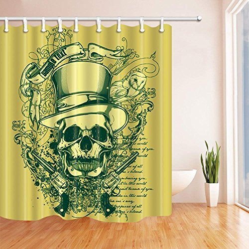 Yomyceo Halloween Shower Curtains for Bathroom, Western Festival Skull and Guns Against DarkKhaki Backdrop, Polyester Fabric Waterproof Bath Curtain, Shower Curtain Hooks Included, 72X72 inch by Yomyceo