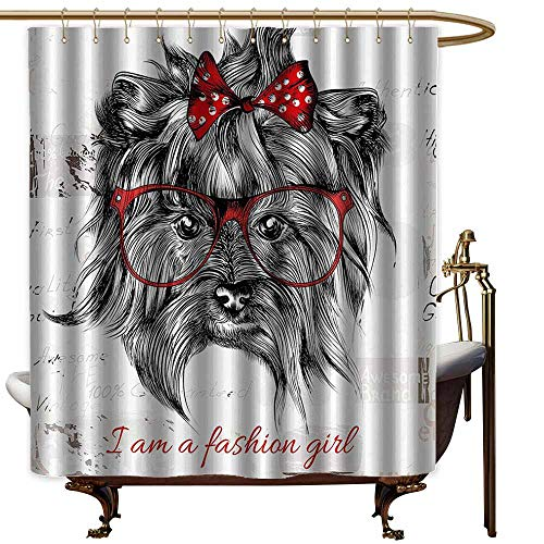 (Godves Travel Shower Curtain,Animal I am a Fashion Girl Quote Sketch Cute Hipster Dog with Sunglasses and Red Bow,for Master, Kid's, Guest Bathroom,W55x84L,Red Black White)