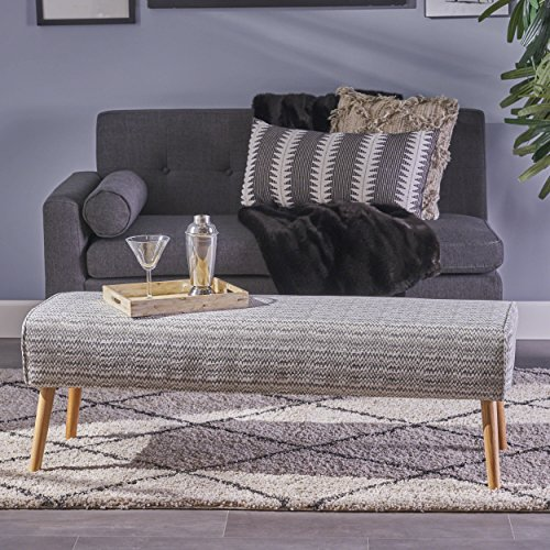 Pattern Upholstered Ottoman - Christopher Knight Home 304458 Sade Mid Century Boho Fabric Ottoman, Light Grey Zig Zag Pattern,