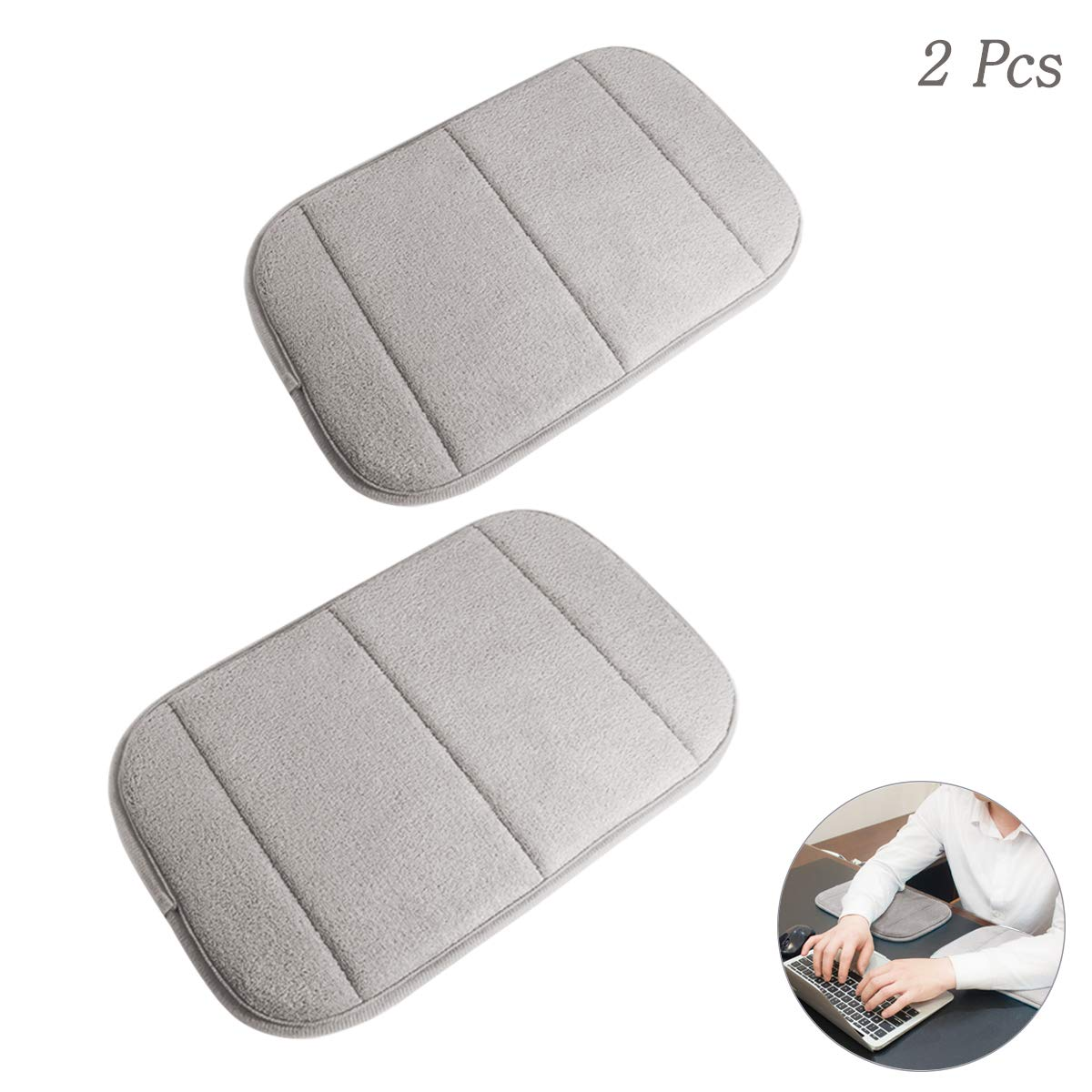 2 Pack Portable Computer Elbow Wrist Pad, Hatisan Premium Memory Cotton Desktop Keyboard Arm Rest Support Mat for Office Home Laptops - More Comfort & Less Strain(7.9 x 11.8 Inch) (Khaki)