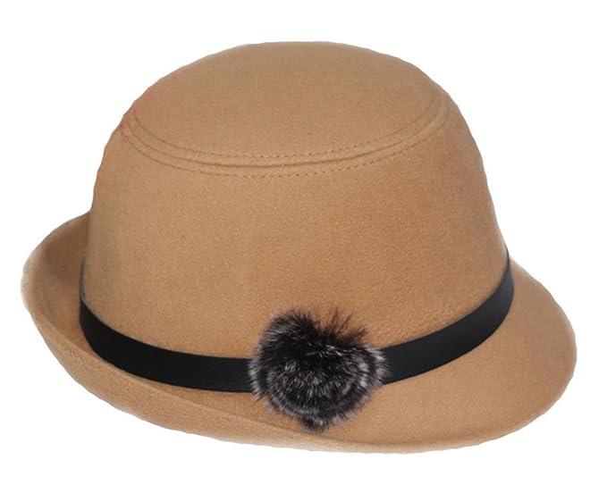1a669604072 Women Wool Felt Church Cloche Cap Bucket Top Hat Bowler Hats with Pompom  Band (Khaki