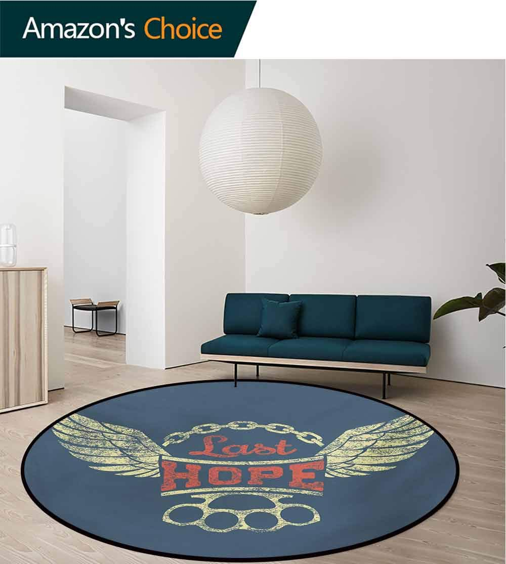 Vintage Modern Machine Washable Round Bath Mat,Grunge Label Wings Chain Brass Knuckles Last Hope Quote for Bikers Non-Slip Living Room Soft Floor Mat,Round-47 Inch Slate Blue Red Pale Yellow