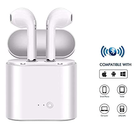 ShopAIS i7s Wireless Bluetooth Airpods Headset with Mic  amp; Charging Case for All Smartphones, White Headsets