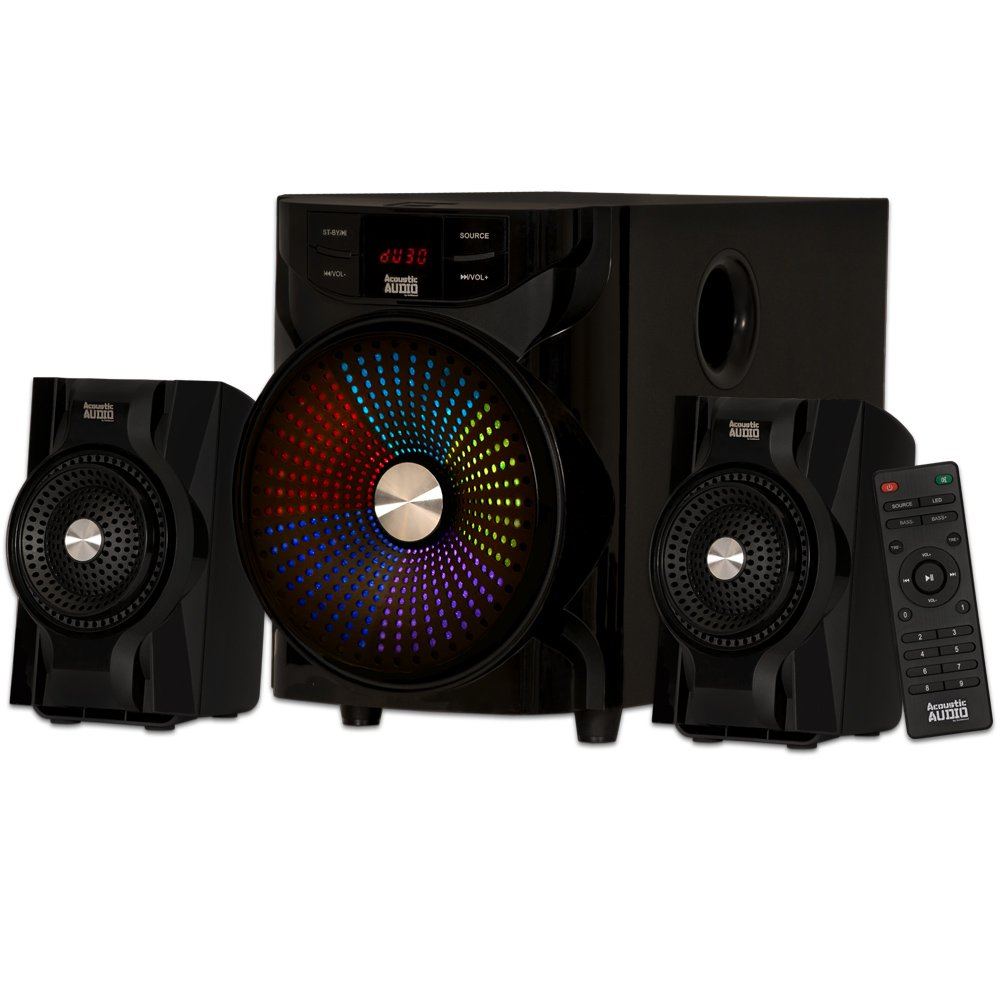 Acoustic Audio LED Bluetooth 2.1-Channel Home Theater Stereo System Black (AA2104) by Acoustic Audio by Goldwood