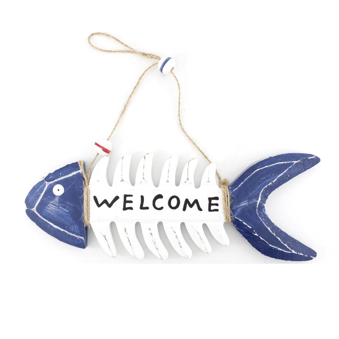 "11"" X 4"" Nautical Wood Fish Bone Decorative Hanging Welcome Sign"