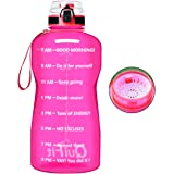 QuiFit Half Gallon Water Bottle - with Time Marker & Strainer Leak-proof Durable BPA Free Large Capacity Infuser Fruit Water