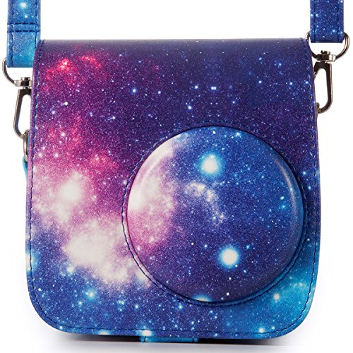 Galaxy Vintage Shoulder Bag (Woodmin Compatible Galaxy PU Leather Instax Camera Case Bag for Fujifilm Instax Mini 7s and Polaroid PIC-300 Camera)