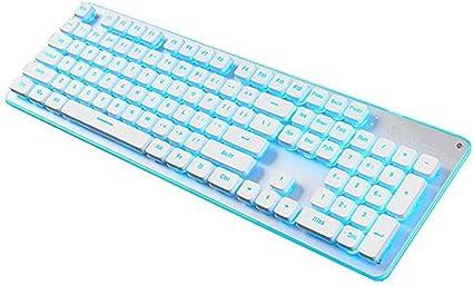 HourenJP Mute Light up Ultra-Thin Keyboard,Retro Chocolate Keycaps Blue Backlit Soft Tactile Natural Ergonomic Steampunk Spill-Resistant Gaming Keyboard