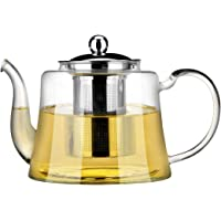 1100ml Glass Teapot with Stainless Steel Infuser Strainer and Lid, 170 Degree Heat Resistant Borosilicate Glass Tea Kettle for Loose Tea