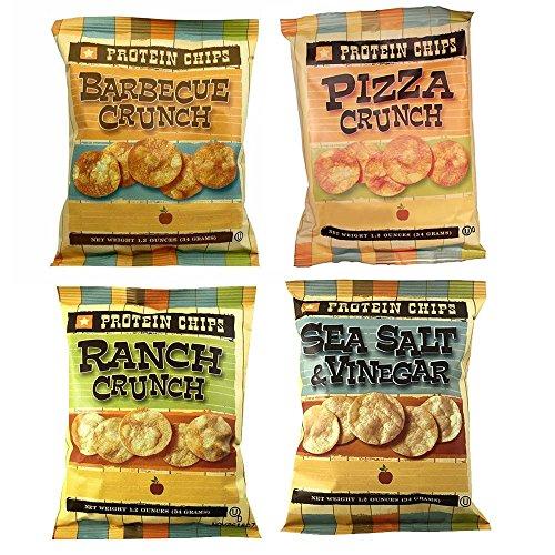 Protein Chips, 4 Flavor Variety Pack, 10g Protein, 5g Fiber, Ranch, Pizza Crunch, Sea Salt & Vinegar, BBQ