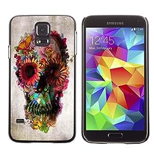 A-type Arte & diseño plástico duro Fundas Cover Cubre Hard Case Cover para Samsung Galaxy S5 (Spring Deep Floral Butterfly Paper)