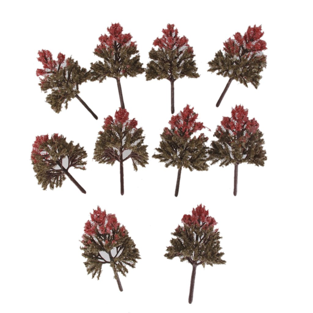 10pcs Mixed Colors Model Trees HO OO Scale Layout Park Scenery Wargame 1:100 Generic