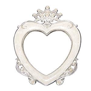 Nerien Style Vintage en Forme de Cœur Miroir de Maquillage Rétro de Table Miroir avec Support Arrière One Size Blanc