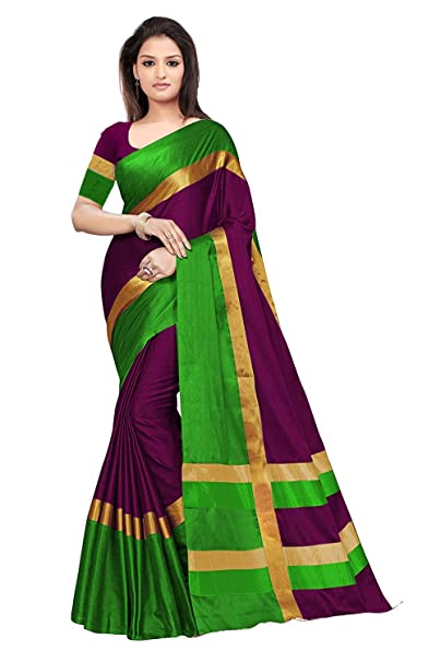 b275627bb5 Dheylu Creation Women's Green-Purple Printed Cotton Silk Saree with Blouse  Piece: Amazon.in: Clothing & Accessories