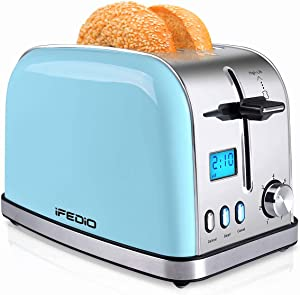 2 Slice Toaster, Wide Slots Toaster 2 Slice Best Rated Prime [LCD Display], Stainless Steel Compact Bread Toasters with 7-Shade Settings Pop Up Bagel Cancel Defrost Function