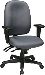 Office Star Multi Function Ergonomic Chair with Ratchet Back Height Adjustment and Adjustable Soft Padded Arms, Grey
